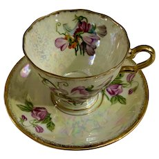 April Sweetpea Sweet Pea Cup and Saucer Iridescent Floral Enesco Japan