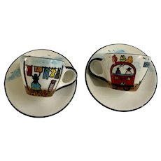 Cape Town Coffee Cups and Saucers Hand Made Africa Folk Art