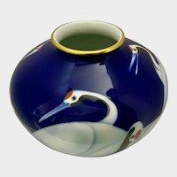 Fukagawa-Seiji Cobalt Blue Vase Japanese Red-Crowned Crane