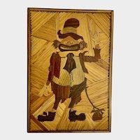 Vintage Marquetry Hobo Wood Sculpture Art Picture