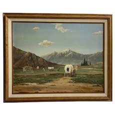 Settlers with Wagons Building Homesteads In the West Acrylic Painting