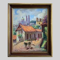 Mid-Century Taxco Mexico Cityscape Oil Painting