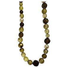 Olive Green Beaded Necklace with Faux Pearl Bead Spacers