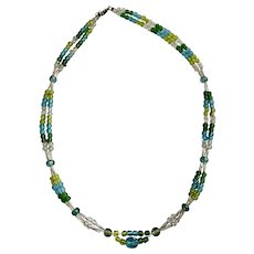 Green, Blue and Silver-Tone Beaded Necklace