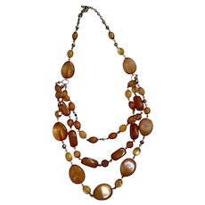 Burnt Peach Colored Stranded Bead Necklace