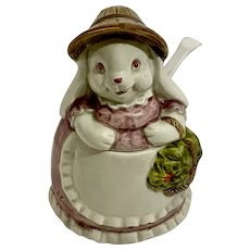 Otagiri Easter Bunny Sugar Bowl Ceramic Hand Painted Japan