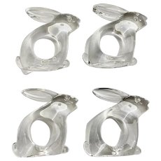 Vintage Bijan Easter Bunny Rabbit Napkin Holder Rings Lucite Acrylic