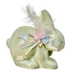Enesco 1988 Easter Bunny Coin Bank Iridescent Green Ceramic Figurine