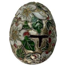 Vintage Cloisonné Easter Egg Floral Design