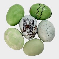 Vintage Easter Eggs Green Hand Painted Ceramic Decoration Figurines Group