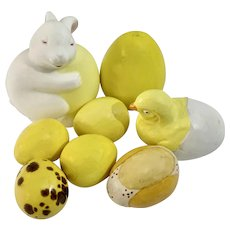 Vintage Easter Eggs Yellow Hand Painted Ceramic Decoration Figurines Group