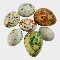 Vintage Groovy Easter Eggs Hand Painted Ceramic Group