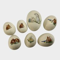 Vintage Easter Bunny Eggs Ceramic Transfers Decorations Group