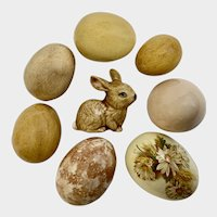 Vintage Easter Brown Eggs & Bunny Rabbit Hand Painted Ceramic Decoration Group