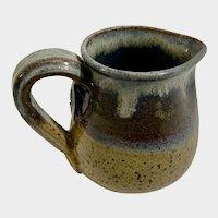 Stoneware Creamer Handmade Signed Blue & Brown Glaze