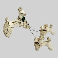 White Spaghetti Chain Poodle Dogs Animal Figurines Thames Hand Painted Japan