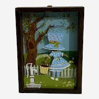 1970s Girl in Blue Bonnet 3D Glass Children's Art Picture