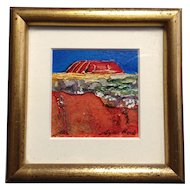 Noela Mills, Ayers Rock Miniature Landscape Oil Painting, Maleny, Australia