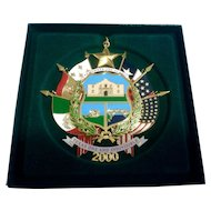 2000 Reverse of Texas State Seal Texas State Capitol Christmas Ornament New In Box, Retired