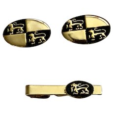 Gold-Tone Lion Cufflinks and Matching Tie Clip Set