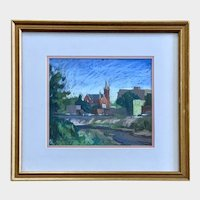 Pastel Painting of a Church Signed