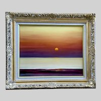 B X Samo, Evening Sunset Over the Ocean Oil Painting