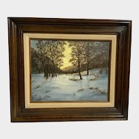 Maxine, Forest Sunset In Snow Landscape Oil Painting