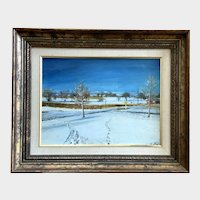 Littleton Colorado Spring Snow Impressionist Landscape Oil painting 1963