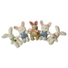 Vintage Easter Basket Spring Bunny Rabbits Stuffed Plush Animals Group