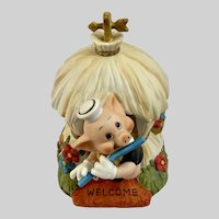 Vintage Disney Three Little Pigs Music Box Straw House