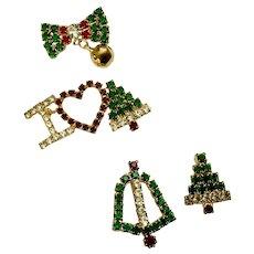 Christmas Crystal Rhinestone Encrusted Brooch Pins