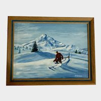 Pharo, Mountain Top Skier In Fresh Snow Oil Painting