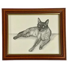 Martin Tonkinese Golden Siamese Cat Pen and Ink on paper Drawing