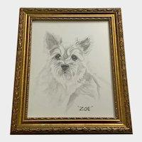 Diane Fifer, Zoe Terrier Dog Portrait Pencil and Watercolor Painting