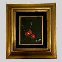 M Burks, Cherries Still Life Oil Painting