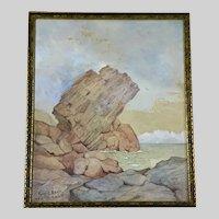 Pulpit Rock Nahant Massachusetts 1900 Coastal Seascape Watercolor Painting