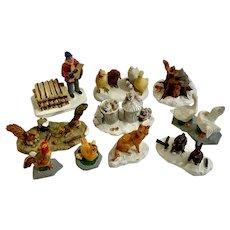 Animal Scenes On The Farm Resin Figures Dollhouse Diorama