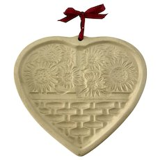 1994 Sunflower Heart Cookie Biscuit Mold Stoneware Pampered Chef