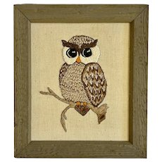 Vintage Owl Embroidered Wall Art Picture