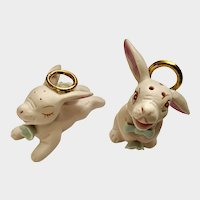 Easter Laughing Pink Bunny Angel Salt and Pepper Shakers