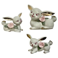 Vintage Easter Bunny Rabbits White, Gold and Pink Ceramic Figurines