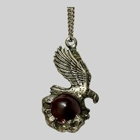 """Pewter Eagle On Red Marble Pendant Necklace 23-1/2"""""""