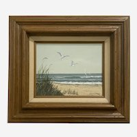 Gloria Pelkey, Seagulls and Sailboats Coastal Seascape Mixed Media Sculptural Painting