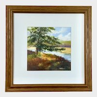 Lee Fritch, Pine Tree on Riverbank Landscape Watercolor Painting