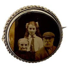 Antique Photo Silver-tone Pin Brooch