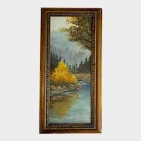 Lori Z, Autumn Trees at Rivers Edge Oil Painting
