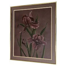 Vonnell, Iris Flowers Still Life Mixed Media Painting