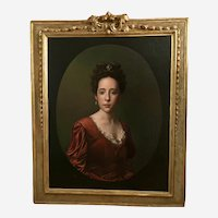 Lady Portrait Antique Oil Painting Late 18th Century-Early 19th Century