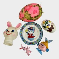 Mid-Century Easter Basket Toys Bunny Group