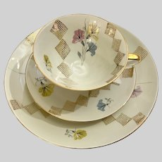 Bareuther Waldsassen Bavaria Germany Floral Diamond Cup Saucer & Plate